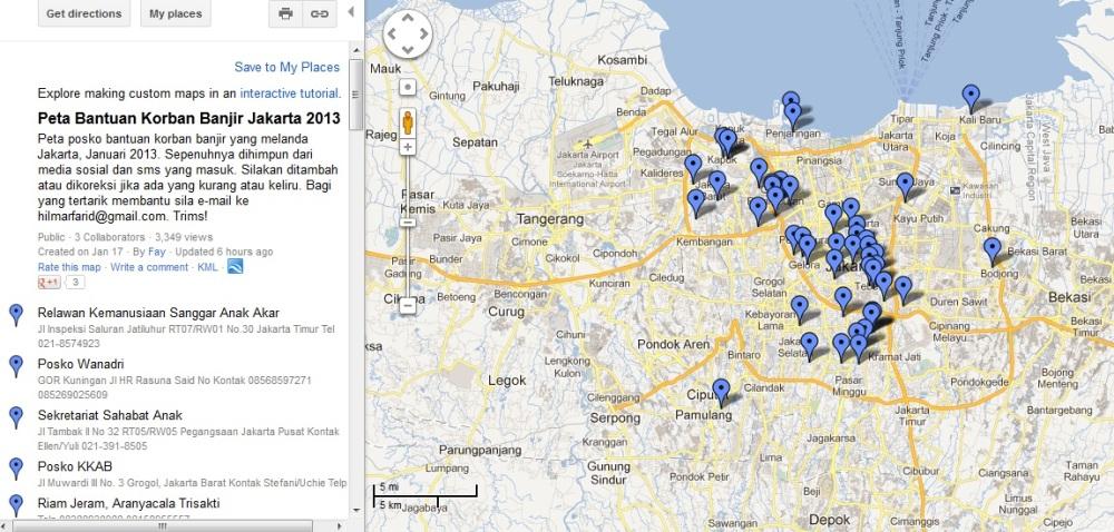 Peta Bantuan Korban Banjir Jakarta 2013