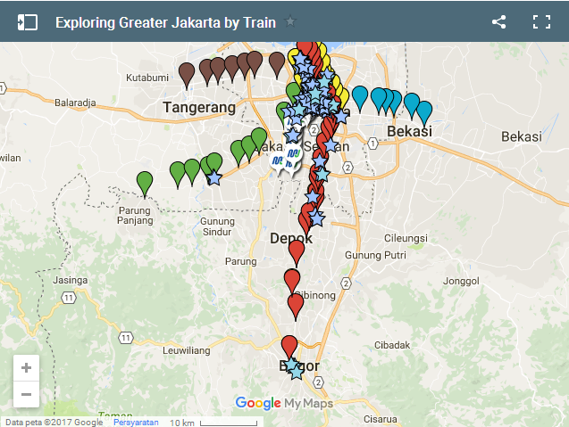 Sightseeing Map to Explore Greater Jakarta by Train Jakarta by Train